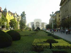Opera Plaza in the city of Timisoara, Rumania